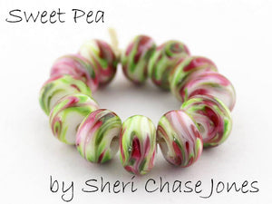 Sweet Pea frit blend by Glass Diversions - beads by Sheri Chase Jones