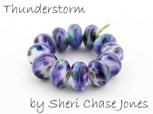 Thunderstorm frit blend by Glass Diversions - beads by Sheri Chase Jones