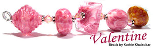 Valentine frit blend by Glass Diversions - beads by Kathie Khaladkar
