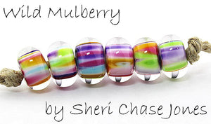 Wild Mulberry frit blend by Glass Diversions - beads by Sheri Chase Jones