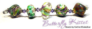Butterfly Kisses Frit blend by Glass Diversions - beads by Kathie Khaladkar