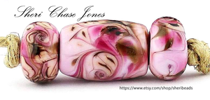 Cherry Blossom Frit blend by Glass Diversions - beads by Sheri Chase Jones
