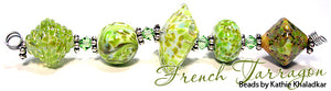 French Tarragon frit blend by Glass Diversions - beads by Kathie Khaladkar