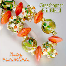 Load image into Gallery viewer, Grasshopper frit blend by Glass Diversions - beads by Kathie Khaladkar
