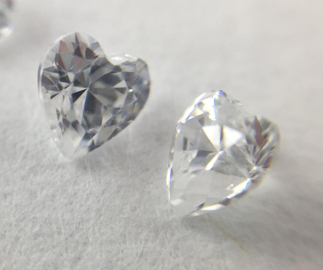 White Heart shaped CZs by Glass Diversions