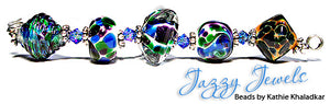 Jazzy Jewels frit blend by Glass Diversions - beads by Kathie Khaladkar