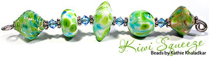 Kiwi Squeeze frit blend by Glass Diversions - beads by Kathie Khaladkar