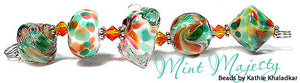 Mint Majesty frit blend by Glass Diversions - beads by Kathie Khaladkar