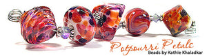 Potpourri Petals frit blend by Glass Diversions - beads by Kathie Khaladkar