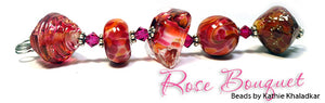 Rose Bouquet frit blend by Glass Diversions - beads by Kathie Khaladkar
