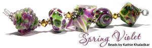 Spring Violet frit blend by Glass Diversions - beads by Kathie Khaladkar