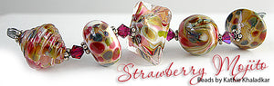 Strawberry Mojito frit blend by Glass Diversions - beads by Kathie Khaladkar