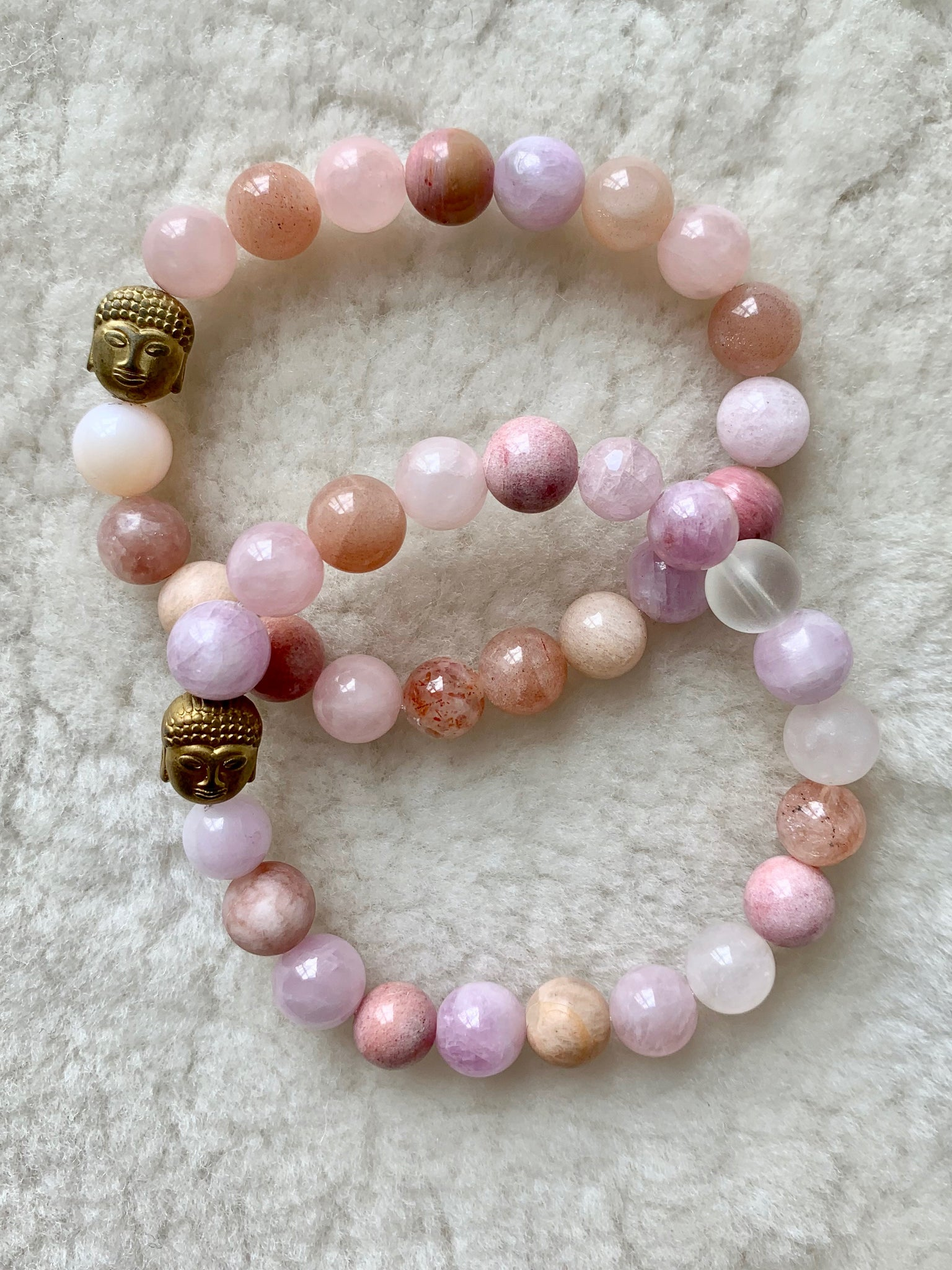 gratitude rose quartz gemstone bracelet | radiant malas | handmade in Boulder Colorado