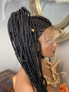"""Zena"" full lace French braided wig unit"