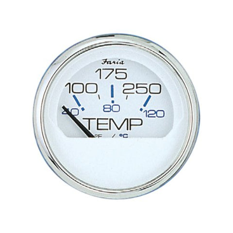 Faria Chesapeake White SS - Water Temp Gauge (100-250)