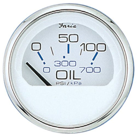Faria Chesapeake White SS - Oil Pressure Gauge (0-80 psi)