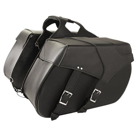 Xelement Black Dual Buckle Saddlebags