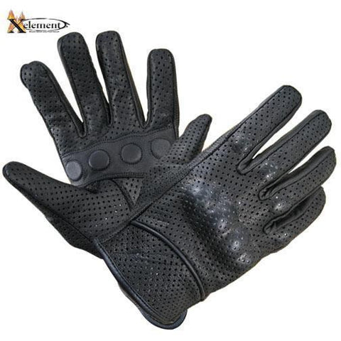Xelement  Black Vented Leather Gloves