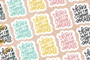 Diecut Thank You/Shop Small Stickers