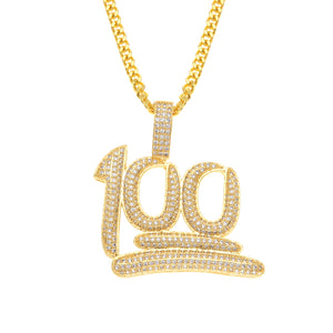 Iced out 100 emoji pendant - Frosty Jewelz