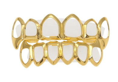 Hollow Top Bottom Fangs Grillz Set - Frosty Jewelz