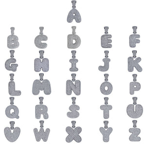 (Small) Custom Silver Bubble Letters Pendants - Frosty Jewelz