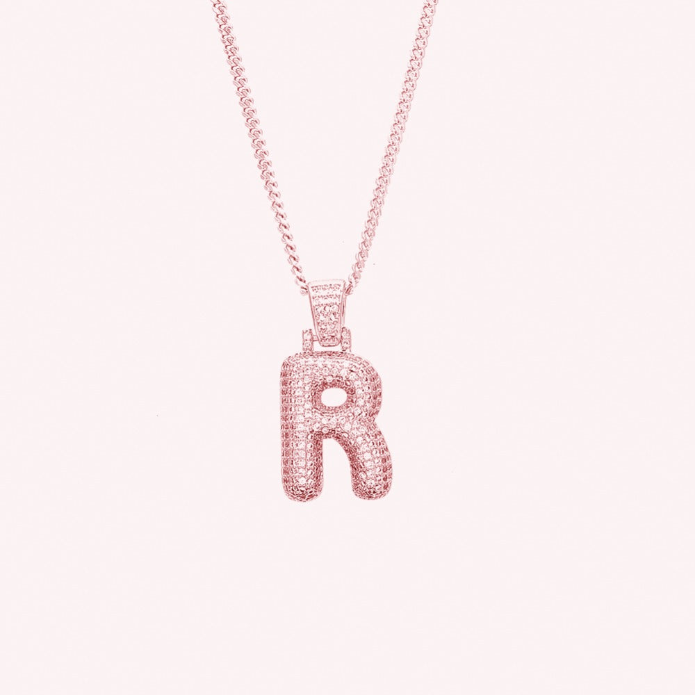 (ROSE GOLD) Big Custom Bubble Letters Pendants - Frosty Jewelz