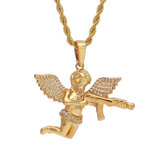 Iced Out Angel Baby Gun Pendant - Frosty Jewelz