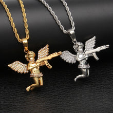 Load image into Gallery viewer, Iced Out Angel Baby Gun Pendant - Frosty Jewelz