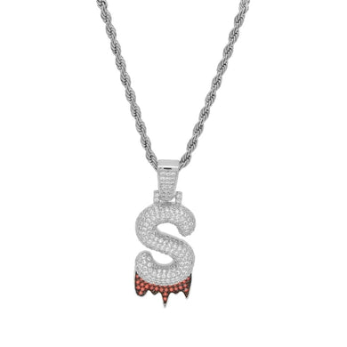 (SILVER) Blood Drip Custom Bubble Letter Pendants - Frosty Jewelz