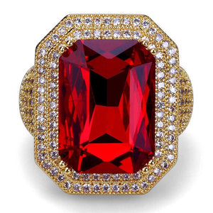 Square Big Red Ruby Ring - Frosty Jewelz