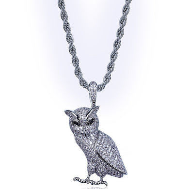3D Owl Iced out Necklace - Frosty Jewelz