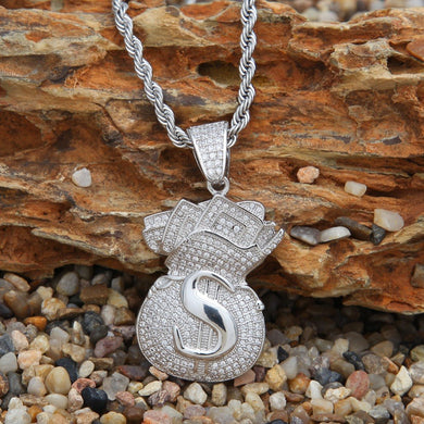 Iced Out Money Bag Pendant - Frosty Jewelz