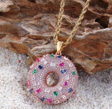 Doughnut Necklace Iced Out with Baguettes - Frosty Jewelz
