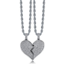 Load image into Gallery viewer, Heart Broken Iced Out Pendant Necklace - Frosty Jewelz