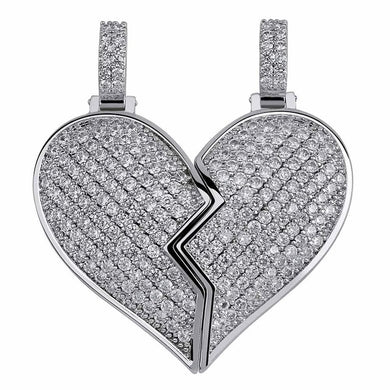 Heart Broken Iced Out Pendant Necklace - Frosty Jewelz
