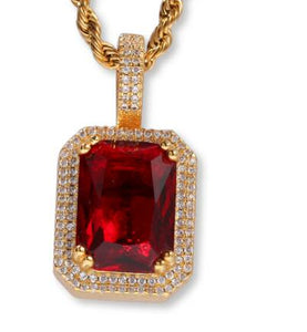 Iced Out Ruby Pendant Necklace