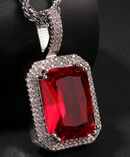 Load image into Gallery viewer, Iced Out Ruby Pendant Necklace - Frosty Jewelz