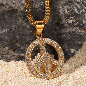 Full Iced Out Peace Pendant