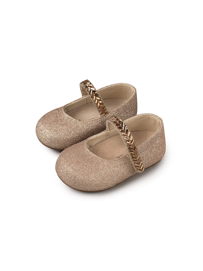 Bébé - Babywalker Single Strap Crystal Embellished Metallic Sandals