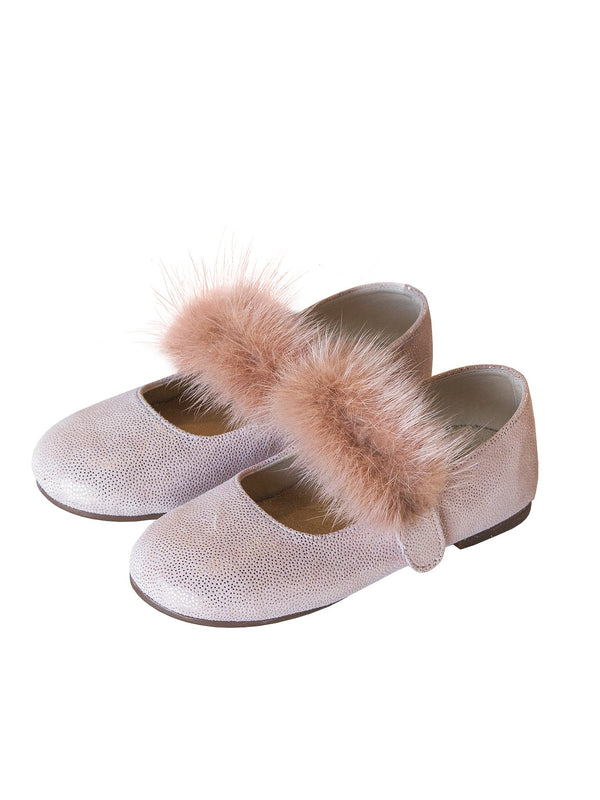 Mink Fur Embellished Velcro Strap Leather Ballerinas