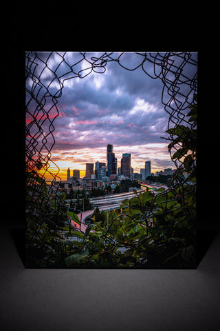 Seattle Through the Fence - Sunset