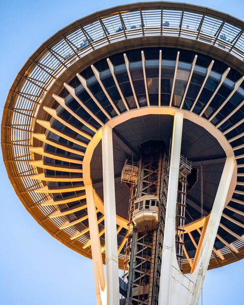 Looking up at the Space Needle