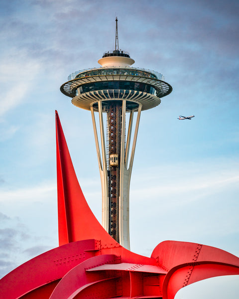 Space Needle with Eagle Sculpture