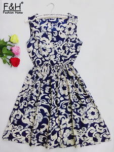 Elegant Vintage Sweet Lace Blue Dress