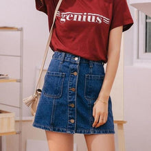 Load image into Gallery viewer, Denim High Waist A-line Mini Skirt