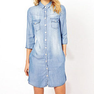 Denim Solid Mini Dress