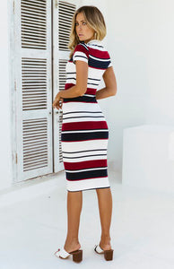 Women Summer Stripe Bodycon Dress Vestidos Short Sleeve Ladies Knee Length Dress Plain Jersey Stretch Basic Dress