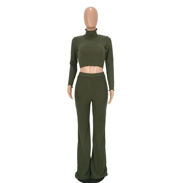 Turtleneck Top And Wide Pants