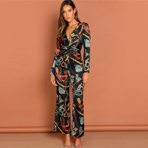 Multicolor V-Neck Jumpsuit